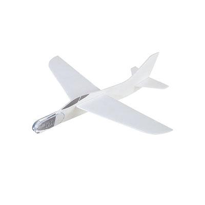 Código GM 050 AVIóN ARMABLE. Avión armable blanco con ventanas grises y punta de plástico. Material: Poliestireno.  Tamaño: 17.5 x 16.5 cm Armado.