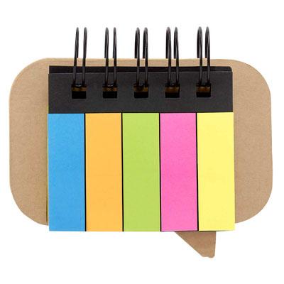 Código  HL 6045 PORTA NOTAS MUHAM (Incluye 5 tiras de banderillas y 3 blocks de notas adheribles de colores. Espiral metálico doble.)  Material: Cartón / Papel.  Tamaño:   10.8 x 6.5 cm