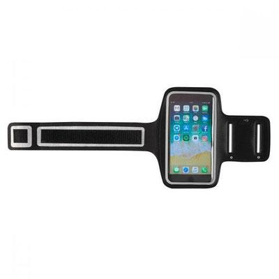 Código SPO 003 BRAZALETE DEPORTIVO ARMES Mica transparente con contorno reflejante compatible con pantallas touch, 4 orificios para audífonos, correa con broche velcro y bolsillo  Material: Poliéster.    Tamaño: 45 X 17 CM