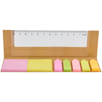 Código HL 6030  PORTA NOTAS LULE (Incluye notas adheribles: 25 amarillas, 25 rosas y banderas de colores. Regla de 12 cm en la cubierta.)  Material: Cartón / Papel / Plástico.  Tamaño: 16 x 5 cm.