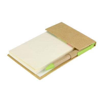 Código HL 6530 PORTA NOTAS AZALAI (Incluye bolígrafo ecológico y notas adheribles: 100 en color beige y banderas de colores.)  Material:  Cartón / Papel.  Tamaño: 10.3 x 15.4 cm.