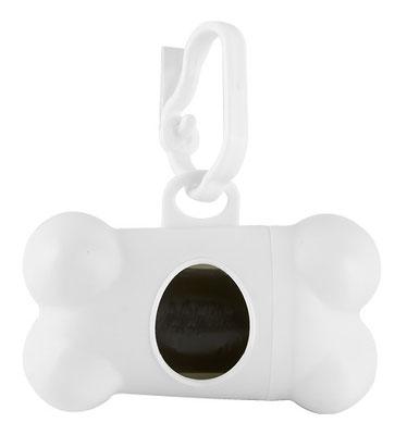 Código PET 001   DISPENSADOR BONE (Incluye 20 bolsas de plástico y gancho.)  Material: Plástico. Tamaño: 8.1 x 4.4 cm.