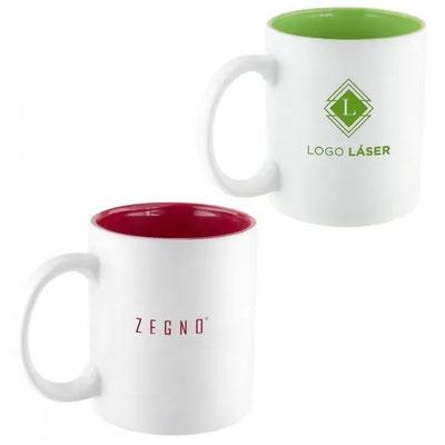 Código TAZ  022    Taza con recubrimiento interior de color para resaltar el logo una vez aplicado el grabado láser. Venta caja cerrada de 36 piezas   Material: Cerámica. Tamaño:  8 x 9.6  cm