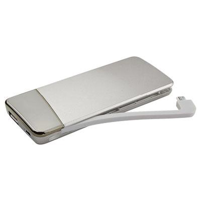 Código CRG 016 -POWER BANK VOLANS- Batería auxiliar para smartphone, capacidad 4000 mAh. Incluye cable cargador compatible con USB, 8 pin y micro USB. Cuenta con indicador de batería.  Material: Plástico. Tamaño: 5.1 x 12.2 cm.