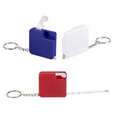 Código PRO 019  LLAVERO FLEXóMETRO LIBEREC (Llavero destapador con cinta metálica de 1 m.)   Material: Plástico   -  Tamaño: 4.3 x 4.1 cm