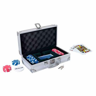 Código JM 014 -MINI MALETíN DE POKER LUCKY- Incluye 50 fichas, 2 barajas plásticas, 1 ficha de dealer y llaves.  Material: Metal / Plástico. Tamaño: 22.5 x 12.5 cm.