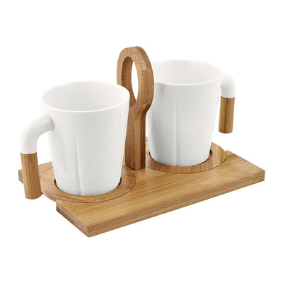 Código  TAZ 029 SET DE TAZAS IWAO Incluye dos tazas, dos porta tazas de bambú y caja de regalo. Material: Cerámica / Bambú.  Tamaño: 20 x 13 cm.
