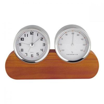 Código MK 250 - RELOJ VON NEWMAN- Funciones: Reloj, alarma y termómetro. Batería (1 pila AA) incluida. Material: Aluminio / Plástico Imitación Madera.  Tamaño: 19.5 x 11 cm.
