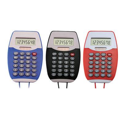 Código CT 150 CALCULADORA COLGABLE.  calculadora de 8 dígitos. Incluye cordón de 48 cm. Batería solar.  Material: Plástico.  Tamaño:6.4 x 9.7 cm.