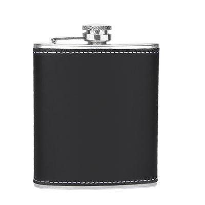 Código 87200 -LICORERA BRISTOL- Incluye licorera, 2 vasos metálicos, embudo y caja de regalo.  Material: Acero Inoxidable / Curpiel. Tamaño: 10 x 12.5 cm Licorera / 3.6 x 4 cm Vasos.