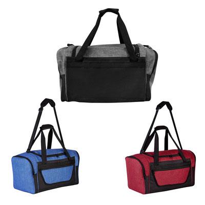 Código SIN 540 MALETA CARDIFF  Bolsa principal, frontal y 2 bolsas laterales con cierre. Incluye correa ajustable.  Material:  Poliéster Tamaño:  47 x 26.5 x 25.5 cm