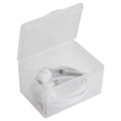 Código AUD 015 -Audifono- Incluye estuche rectangular para audífonos. Material: Plástico. Tamaño: 6 x 4.4 cm.