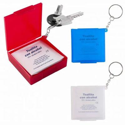 Código SLD 052 -ESTUCHE LLAVERO CON PAD DE ALCOHOL  - Incluye 10 toallitas con Alcohol al 75%.- Material: Plástico Tamaño: 5.5 x 5.5 cm