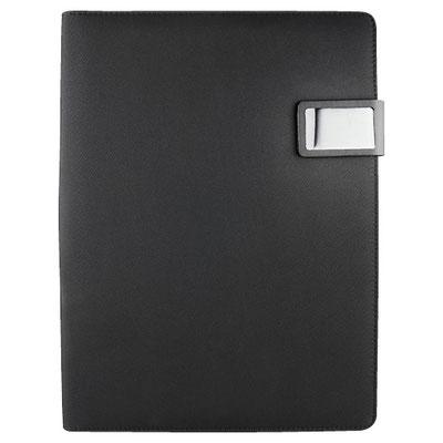 Código M 80750 N   .  CARPETA MIRAM (Incluye block de raya tamaño A4 con 20 hojas, elástico para bolígrafo, compartimento para smartphone y tarjetas. Broche magnético. No incluye bolígrafo.) Material: Poliéster.  Tamaño: 24 x 30.8 cm.