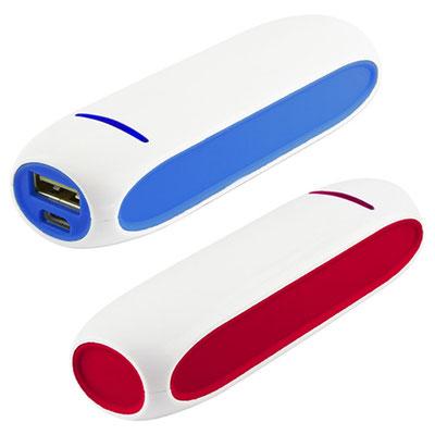 Código CRG 015 -POWER BANK ALIOTH- Batería auxiliar para smartphone, capacidad 2200 mAh. Incluye cable cargador compatible con USB y micro USB. Material: Plástico. Tamaño: 9.8 x 2.8 cm.