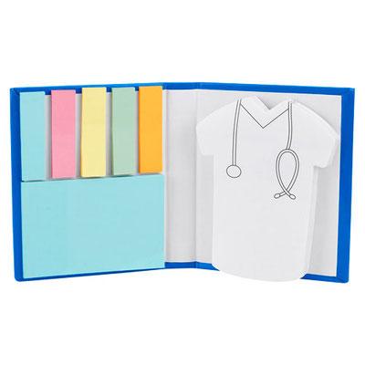 Código HL 045 PORTA NOTAS DOCTOR (Incluye 2 blocks de notas adheribles y 5 banderillas de colores.)  - Material:  Cartón. Tamaño:  8.2 x 9.9 cm