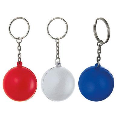 Código  K 100   Llavero con pelota anti-stress.   Material: PU -  Tamaño: 3.7 x 8.9 cm