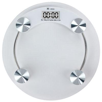 Código SLD 028 BáSCULA FINISH (Bascula digital. Capacidad maxima 180 kg. Bateria (1 de boton) incluida.) Material: Cristal. Tamaño: 32.8 cm Diametro.