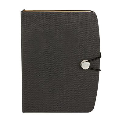 Código HL 017  LIBRETA OWAMI (70 Hojas de raya. Incluye elástico para cerrar, notas adheribles de diferentes colores y bolígrafo ecológico.)  Material: Curpiel.  Tamaño: 12 x 16 cm.