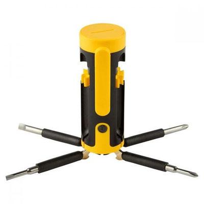 Código HER 045  DESARMADOR MúLTIPLE VINDEL (4 LEDS con 6 puntas de desarmador y clip. Baterí as (2 Pilas AAA) no incluidas.)  Material: plástico. Tamaño: 4 x 9.8 cm.