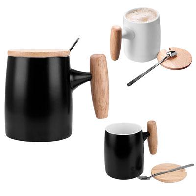 Código TAZ  045  Incluye tapa y cuchara.   Material:   Porcelana / Madera / Acero Inoxidable     Tamaño:  8.4 x 10.8 cm
