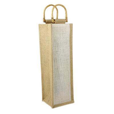 Código 86400 -ESTUCHE PARA VINOS PALERMO- Interior plastificado. Agarraderas de madera.   Material: Yute. Tamaño: 11 x 35 x 9.5 cm.