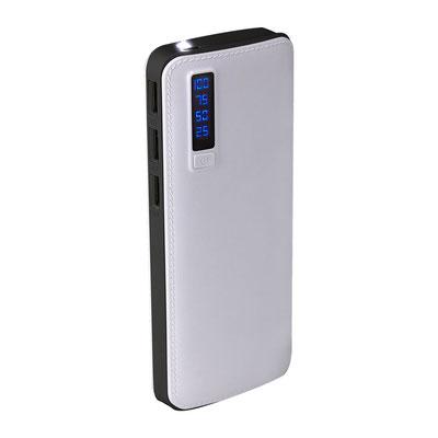 Código CRG 027  POWER BANK ALAID (Batería auxiliar para smartphone con 3 salidas de carga, capacidad 7500 mAh. Incluye cable cargador compatible con USB y micro USB. Display indicador de batería.)   Material: Plástico.   Medida:  6.4 x 14.4 cm.
