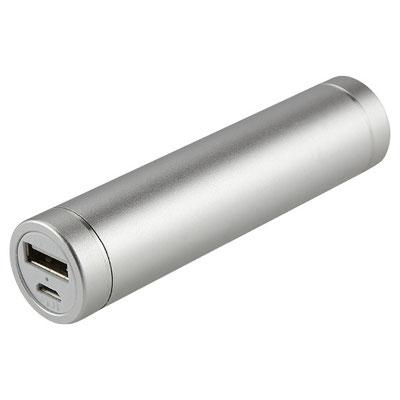 Código CRG 012 -POWER BANK DESNA- Batería auxiliar para smartphone, capacidad 2000 mAh. Incluye cable cargador compatible con USB y micro USB.  Material:Aluminio / Plástico.  Tamaño: 9.1 x 2.1 cm.