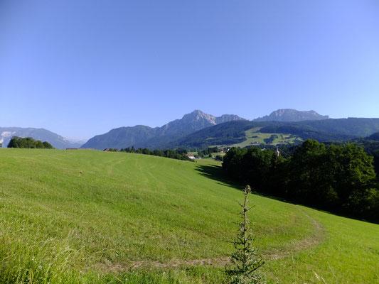 Blick vom Gasthof Mayerhofen Richtung Staufen, Zwiesel und Fürmannalm