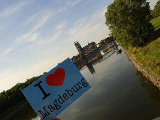 Elb-Idylle mit Domblick: Magdeburg/ Deutschland.