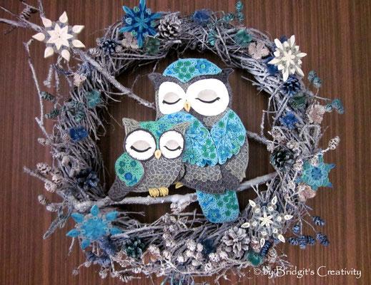 Quilling Türkranz mit Eulen / winterwreath with owls