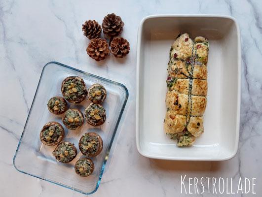 Kerstrollade met geitenkaas, spinazie en cranberries & gevulde champignons