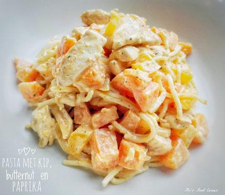pasta met kip, butternut en paprika