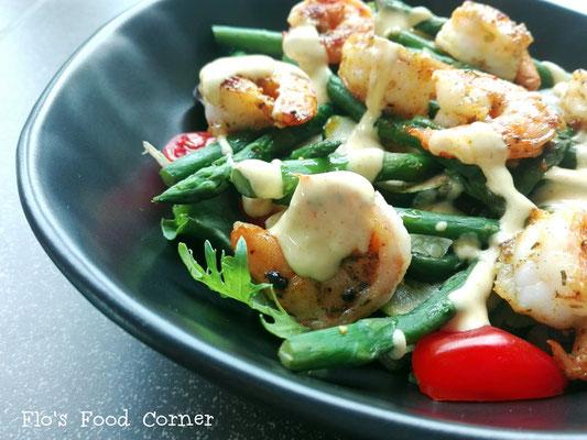 Scampi salade met gegrilde groene groenten