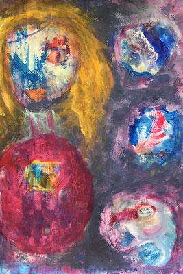 Meine Kleine III -  Acryl auf Pappe  50 x 70 cm, 2018 | Blanka von Rohr | Malerei | Hamburg