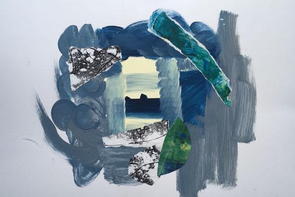 ORDNUNG IM CHAOS - Acryl auf Pappe / Collage 70 x 50cm, 2018  | Blanka von Rohr | Malerei | Hamburg
