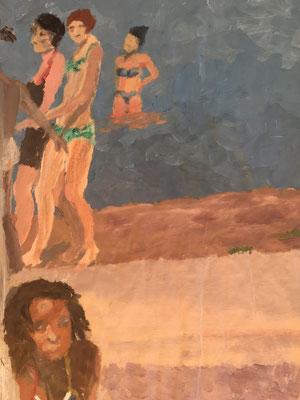 FREUNDINNEN 2 - Acryl auf Papier, 40 x 53 cm, 2017 | Blanka von Rohr | Malerei | Hamburg