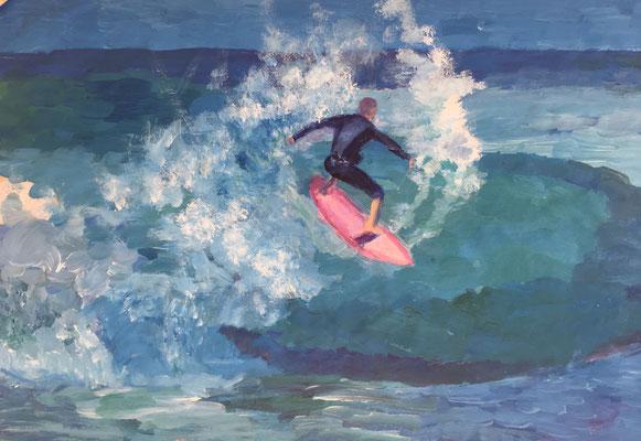 DER SURFER - Acryl auf Papier 60 x 40 cm, 2018 | Blanka von Rohr | Malerei | Hamburg