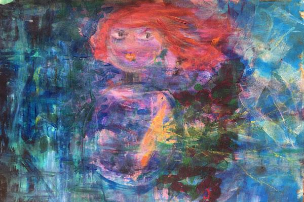 MEINE KLEINE II -  Acryl auf Pappe  50 x 66 cm, 2018 | Blanka von Rohr | Malerei | Hamburg
