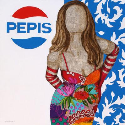 LA SEÑORITA PEPIS 100x100 cm.  Collage y acrílico sobre lienzo  € 3.500