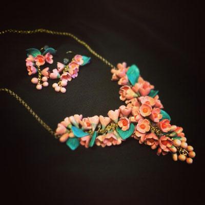 """ожерелье """"Шик"""" цвет розово-коричневый, с кораллом, 3500р"""
