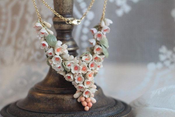 """ожерелье """"Шик"""" цвет кремовый, с кораллом, 3500р"""