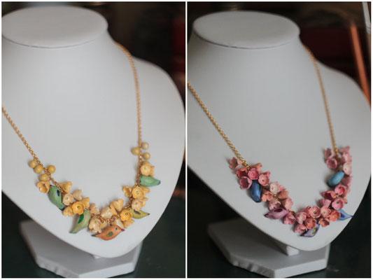 """ожерелье """"Цветы и птицы"""", два цвета, 1500р"""