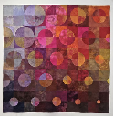 "Circles Diminishing      50"" x 50"" w hanging sleeve  in private collection"