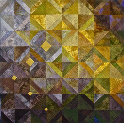 "Grey/Gold Diamonds      37""x37"" in private collection"