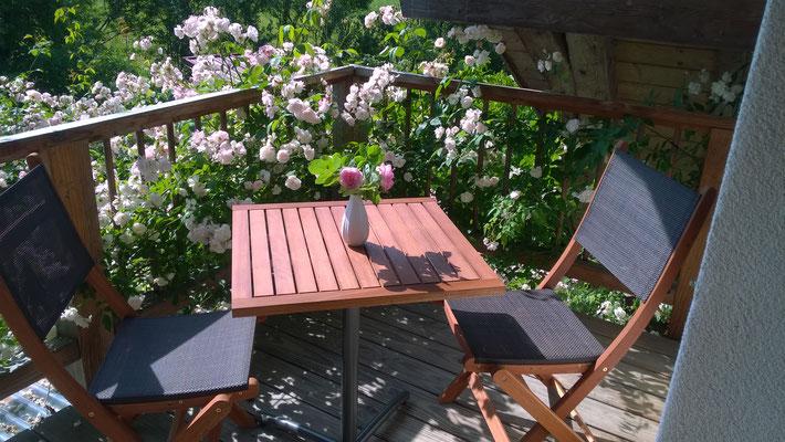 Sitzecke Balkon mit RamblerRose