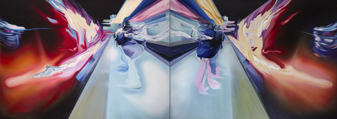 Icaro (Diptychon), 2011, Acryl auf Leinwand, 180cm x 250cm (2x)
