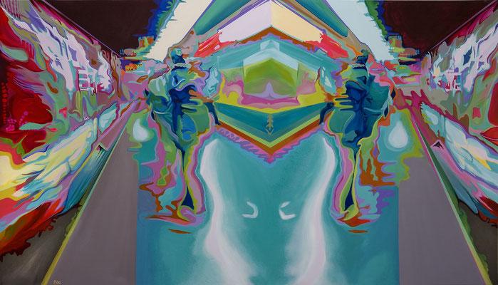 Double Motion, 2008, Acryl auf Leinwand, 250cm x 140cm