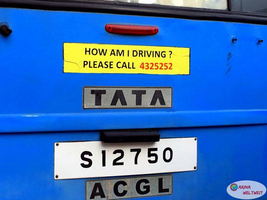 TATA - so heißen die öffentlichen Busse (importiert aus Indien)