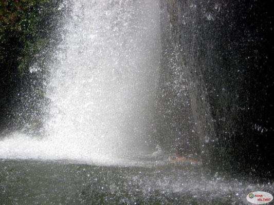 Wenn man genau hinschaut, sieht man, wie Stefano durch den Wasserfall durchschwimmt.